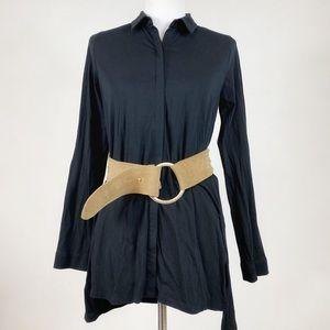 Eileen Fisher Black button down tunic top